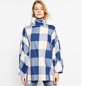Zara Blue Check Mock Collar Oversized batwing Top